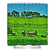 Amish Gathering Hay Shower Curtain