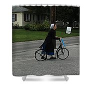 Amish Girl Going To Work Shower Curtain