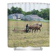 Amish Girl Raking Hay As Painting Shower Curtain
