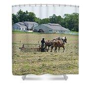 Amish Girl Raking Hay Photo Shower Curtain