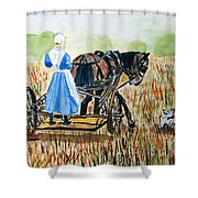 Amish Girl With Buggy Shower Curtain