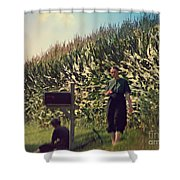 Amish Girls Watermelon Break Shower Curtain