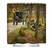 Amish Horse And Buggy Crossing A Bridge Shower Curtain
