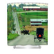 Amish Horse And Buggy Farm Shower Curtain