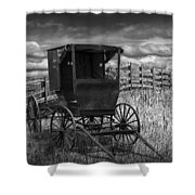 Amish Horse Buggy In Black And White Shower Curtain