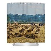 Amish Making Grain Shocks Shower Curtain