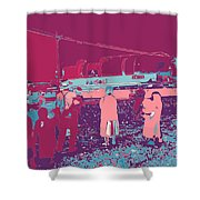 Amish Red And Blue Shower Curtain