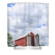 Amish Red Barn And Silos Shower Curtain