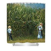 Amish Siblings In Cornfield  Shower Curtain
