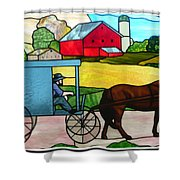 Amish Stained Glass Shower Curtain