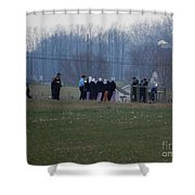 Amish Teens At An Easter Monday Gathering Shower Curtain