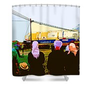Amish Watching A Nuclear Reactor Go By Shower Curtain