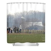 Amish Youth Gather After A Volleyball Game Shower Curtain