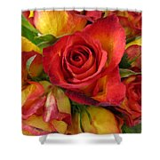 Among The Rose Leaves Shower Curtain