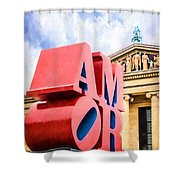 Amor In Blue Shower Curtain