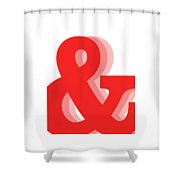 Ampersand - Red - And Symbol - Minimalist Print Shower Curtain