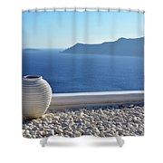 Amphora In Santorini, Greece Shower Curtain