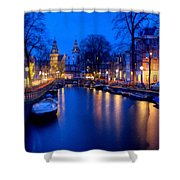 Amsterdam - A Canal Scene At Night . L B Shower Curtain