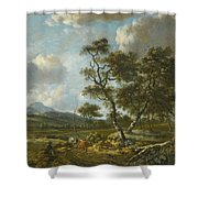 Amsterdam A Landscape With Cattle  Shower Curtain