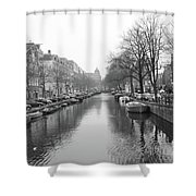 Amsterdam Canal Black And White 2 Shower Curtain