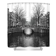 Amsterdam Canal Bridge Black And White Shower Curtain