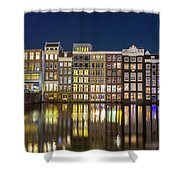 Amsterdam Canal Houses At Night Shower Curtain