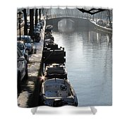 Amsterdam Canal In Winter Shower Curtain