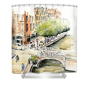 Amsterdam Canal Watercolor Shower Curtain