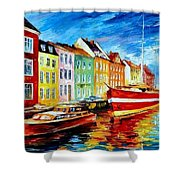 Amsterdam-city Dock - Palette Knife Oil Painting On Canvas By Leonid Afremov Shower Curtain