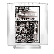 Amsterdam Coffe Shop Black And White Shower Curtain
