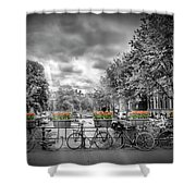 Amsterdam Gentlemens Canal Typical Cityscape Shower Curtain