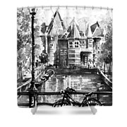 Amsterdam In Black And White Shower Curtain