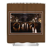 Amsterdam - Night Life L B With Decorative Ornate Printed Frame. Shower Curtain