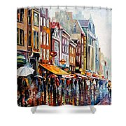 Amsterdam Rain - Palette Knife Oil Painting On Canvas By Leonid Afremov Shower Curtain
