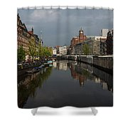Amsterdam - Singel Canal With The Floating Flower Market Shower Curtain