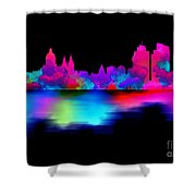 Amsterdam Skyline - Pink Blue Shower Curtain