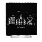 Amsterdam Skyline Travel Poster Shower Curtain