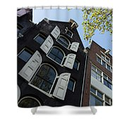 Amsterdam Spring - Arched Windows And Shutters - Right Shower Curtain
