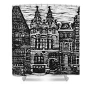 Amsterdam Woodcut Shower Curtain