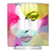 Amy Portrait Pink Yellow  Shower Curtain