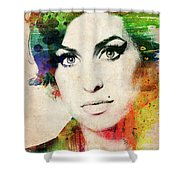 Amy Winehouse Colorful Portrait Shower Curtain