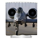 An A-10 Thunderbolt II Shower Curtain