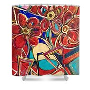 An Abstract Floral Shower Curtain