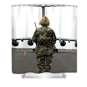 An Airfield Manager Greets An Arriving Shower Curtain