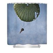 An Airman Descends Through The Sky Shower Curtain