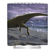 An Albino Carnotaurus Surprising Shower Curtain