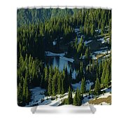 An Alpine Lake  Shower Curtain by Jeff Swan