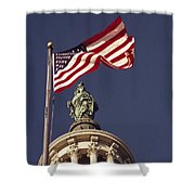 An American Flag And The Statue Shower Curtain