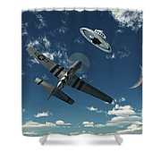 An American P-51 Mustang Gives Chase Shower Curtain