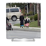 An Amish Family Going For A Walk Shower Curtain